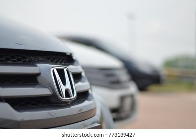 johor bharu,malaysia-June 30th 2017 Honda car logo on a black car. Honda Motor Corporation is a Japanese public multinational corporation primarily known as a manufacturer of automobiles, motorcycles