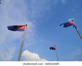 Johor Flag in Medeka Lake , Johor Bahru