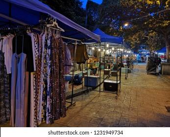 Johor, Malaysia - 14 November 2018 : Street scene of people at Pasar Karat or car boot sale market in Johor Baharu, Johor.