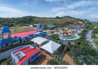 JOHOR, MALAYSIA - 25th JANUARY 2016 - Opened in 2012, Legoland Malaysia was the first international amusement park in Nusajaya and the first Legoland in Asia. Legoland Water Park on top view.