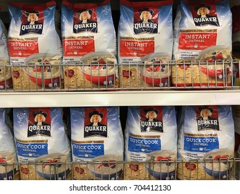 Johor, Malaysia - 28 August 2017 - Quaker oat product at supermarket. Quaker has been owned by PepsiCo since 2001
