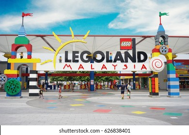 JOHOR, Malaysia.  April 20, 2017: The gate of Legoland Malaysia Resort with traveller walking inside