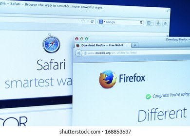 Johor, Malaysia - Dec 11, 2013: Photo of Mozilla Firefox and Safari webpage on a monitor screen. Mozilla Firefox and Safari are the famous web browser in the world, Dec 11, 2013 in Johor, Malaysia.
