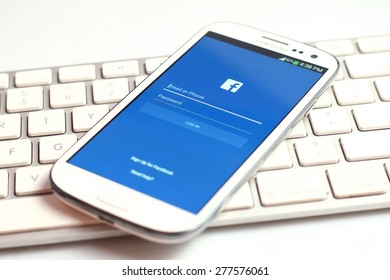 Johor, Malaysia - Feb 11, 2015: Facebook application on smart phone. Facebook is the world's largest social network, Feb 11, 2015 in Johor, Malaysia.