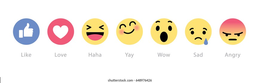 Johor, Malaysia - Feb 25, 2016: Facebook users show range of reactions to new love, haha, sad, angry, wow emoticons, Feb 25, 2016 in Johor, Malaysia.