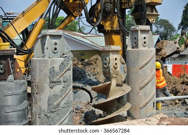 JOHOR, MALAYSIA � FEBRUARY 02, 2015: Bore pile rig auger at the construction site in Johor, Malaysia. The bore pile rig machine used this auger during drilling soil for the foundation work.