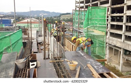 JOHOR, MALAYSIA -JANUARY 2, 2017: Timber form work and scaffolding used by construction workers at the construction site in Johor, Malaysia. Timber form work  made from timber and plywood