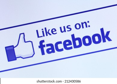 Johor, Malaysia - Jun 17, 2014: Like us on Facebook icon on computer screen, Facebook is a popular free social networking website in the world, Jun 17, 2014 in Johor, Malaysia.