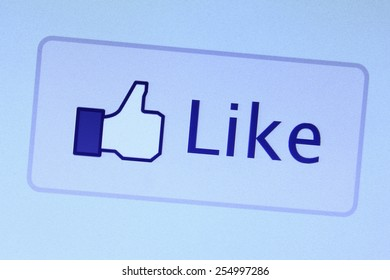 Johor, Malaysia - Jun 17, 2014: Facebook like icon on computer screen, Facebook is a popular free social networking website in the world, Jun 17, 2014 in Johor, Malaysia.