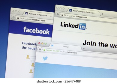 Johor, Malaysia - Jun 18, 2014: Social networking webpage on computer screen, Facebook, twitter and Linkedin are popular free social networking websites in the world, Jun 18, 2014 in Johor, Malaysia.