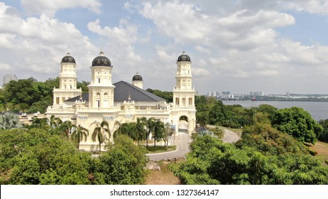 JOHOR, MALAYSIA - MARCH 2, 2019: Newly refurbished Mosque Sultan Abu Bakar located facing Strait of Tebrau and Singapore. The building design mix with Europe and local Malay design.