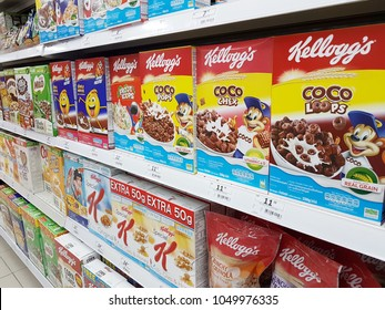 JOHOR, MALAYSIA - March 20th,2018. Various brands of cornflakes and breakfast cereal are on the display shelves including Kelloggs and Nestle. Editorial Used only.