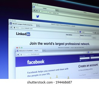 Johor, Malaysia - May 06, 2014: Social networking websites on computer screen. There are famous social networking webs, May 06, 2014 in Johor, Malaysia.