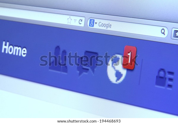 Johor, Malaysia - May 06, 2014: Facebook notification on computer screen. Facebook is the world�¢??s largest social network, May 06, 2014 in Johor, Malaysia.