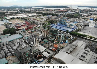 Johor, Malaysia - May 10,2018 - Aerial view of Pasir Gudang, Industrial Area in Johor Malaysia