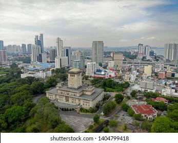 Johor, Malaysia - May 12,2019 : Aerial view of Bukit Timbalan also known as Bangunan Sultan Ibrahim in Johor Bahru.