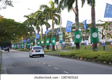 Johor, Malaysia - May 13,2018 : Malaysia election campaign scenes in all states with colorful flags