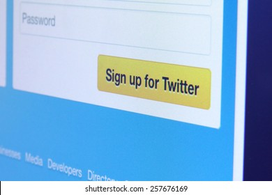 Johor, Malaysia - May 27, 2014: Twitter is a Microblogging service, Social Network, Real-Time Information Network and Social Search Engine all rolled into one, May 27, 2014 in Johor, Malaysia.