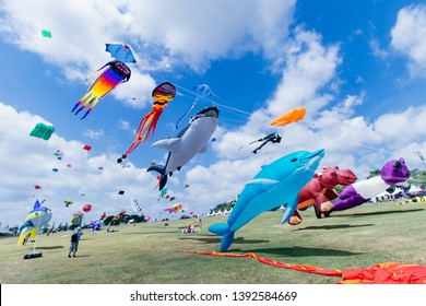 Johor, Malaysia : May 9,2019 : Pasir Gudang, International Kites Festival 2019, comes with many interesting colorful kites from all over the world