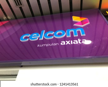 JOHOR, MALAYSIA - NOV 16, 2018:CELCOM XPAX signboard. Celcom Axiata Berhad, DBA Celcom, is the oldest mobile telecommunications provider in Malaysia