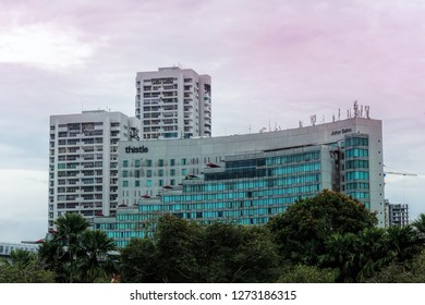 JOHOR, MALAYSIA, OCT 18, 2018: Day view of 5-star hotel Thistle Johor Bahru in Johor, Malaysia. It is located in the city of Johor Bahru and within the Iskandar Development Region.