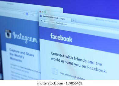 Johor, Malaysia - Sep 6, 2013: Photo of Facebook and Instagram homepage on a monitor screen. Facebook and Instagram are the famous social media network on the web, Sep 6, 2013 in Johor, Malaysia.