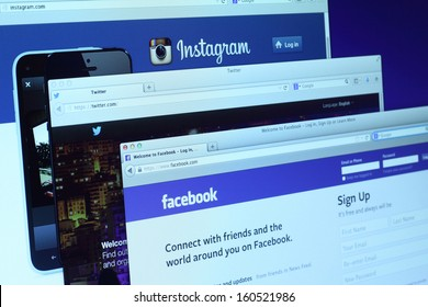 Johor, Malaysia - Sep 6, 2013: Photo of Facebook, Twitter and Instagram homepage on a monitor screen. There are famous social networking sites on the web, Sep 6, 2013 in Johor, Malaysia.
