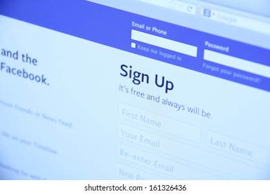 Johor, Malaysia - Sep 6, 2013: Photo of Facebook homepage on a monitor screen. As of today, Facebook is the largest social media network on the web, Sep 6, 2013 in Johor, Malaysia.