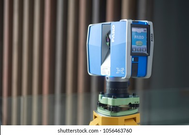 Johor, Malaysia - September2017: FARO 3D laser scanner operating in construction site. Faro is the company that develops solution for high-precision 3D capture and analysis.