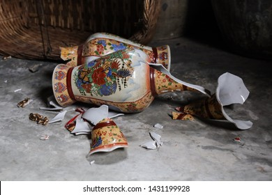 Johor / Melaka - June 22nd 2019: A vase has broken in the museum.