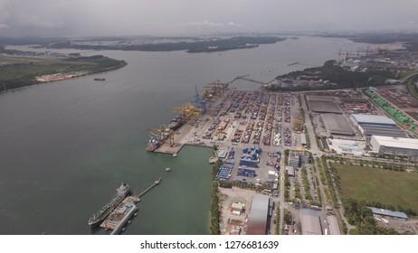 Johor Straits facing Seletar Airport and Johor Ports