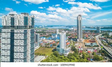 JOHORE BHARU CITY - 20/01/2018 : AERIAL VIEW AT JOHORE BHARU BUILDING CITY WITH THE BLUE SKY.