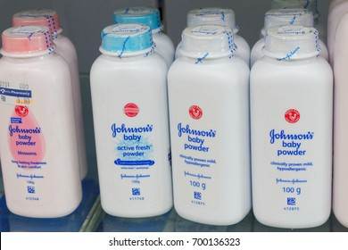 JOHOR,MALAYSIA- August 19th, 2017 : bottle of Johnson & Johnson Baby powder. Johnson & Johnson is an American company founded in 1866