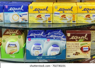Johor,Malaysia- August 25,2017. Equal is artificial sweetener by Merisant, a global corporation.
