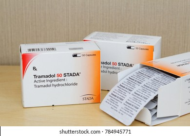 Johor,Malaysia- Jan 02,2017. Tramadol HCL opioid pain medication used to treat moderate to moderately severe pain.