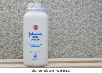 JOHOR,MALAYSIA- MARCH 15th, 2016 : bottle of Johnson & Johnson Baby powder. Johnson & Johnson is an American company founded in 1866