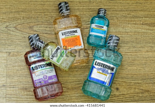 JOHOR,MALAYSIA - MAY 5th, 2016:  Listerine cool mint on textured background. Listerine is a brand of antiseptic mouthwash product.