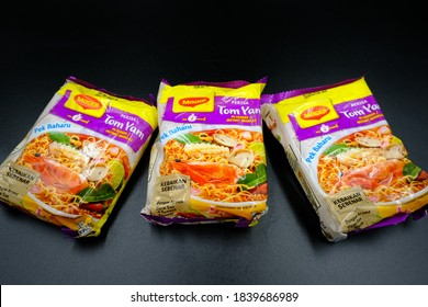 Johor,Malaysia - October 2020 : Maggi Tomyam Noodles,Deliciously made with the taste of kaffir lime leaves and lemongrass