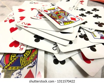 JOHOR,MALAYSIA-8 FEB. 2019:Focus on the poker cards which on the table.