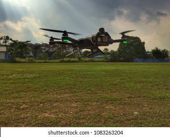 JOHOR,MALAYSIA-APRIL 23 2018:GoPro Karma drone with Hero5 camera hovers above 10 meters from the ground ready to receive its next command