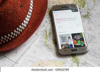 Johor,Malaysia-December 17th,2016. Smartphone display Air Bnb mobile website. Airbnb is a vacation or travel rental app for smartphones.
