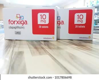 Johor,Malaysia-Feb 05,2018. Forxiga (dapagliflozin), diabetes medication from gliflozin group, sglt2 inhibitor.