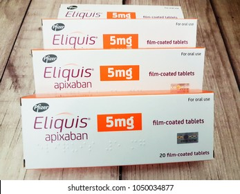 Johor,Malaysia-March 20,2018. Eliquis containing apixaban is anticoagulant medicine by Pfizer.