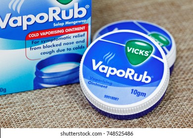 JOHOR,MALAYSIA-November 5th,2017. Vicks VapoRub ointment is a mentholated topical cream manufactured by Vicks.