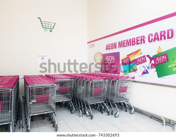 Johor,Malaysia-October 28th,2017. AEON Retail Stores (formerly known as JUSCO supermarkets) is one of the largest retailers in Asia. Shopping cart is arranged at designated area.