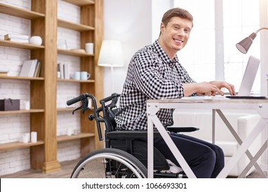 Join me. Delighted differently abled man sitting on the wheelchair and working with computer