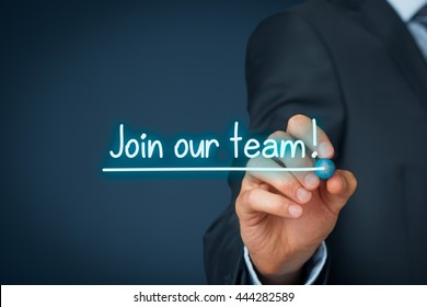 Join our team concept. Businessman (recruiter, HR staffer) write and underline text join our team.