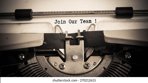 Join Our Team concept on typewriter