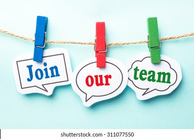 Join our team concept paper speech bubbles with line on the light blue background.