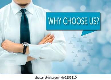 Join our team and human resources concept. headhunter (businessman, recruiter) stands next to the banner with text WHY CHOOSE US?.